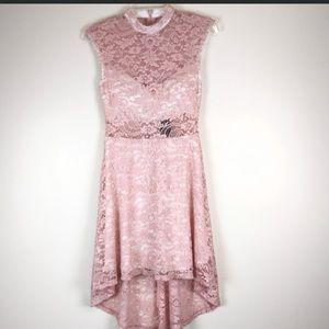 A lace pink dress